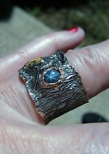 RUBY, BLUE STAR/YELLOW SAPPHIRE RING #7.25 ROSE GOLD & RHODIUM-plated 925 SILVER