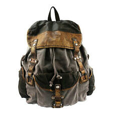 Men Retro Washed Canvas Leather Backpack Shouder Bag Traveling Knapsack Tote Bag
