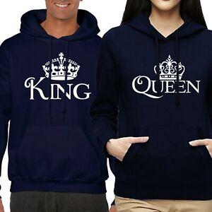 VALENTINE'S DAY HIS & HERS KING QUEEN LOVE COUPLE MATCHING HOODIE SWEATSHIRT SET