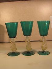 Antique Murano Venetian Glass  Lot of 3 Vine Glasses Goblets Swan Stem  Italy
