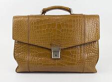 New. BRIONI Brown Crocodile Leather Briefcase Bag $34450