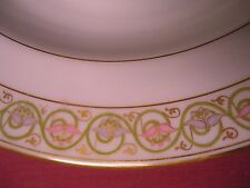 5 Antique Limoges Elite Works France Flat Soup Bowls Floral & Gold Trim 9.25""