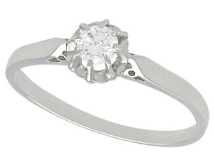 Vintage 0.25 ct Diamond and Platinum Solitaire Engagement Ring Circa 1980