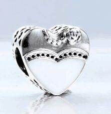 WEDDING DAY w HEART  WHITE & BLACK .925 Sterling Silver European Charm Bead
