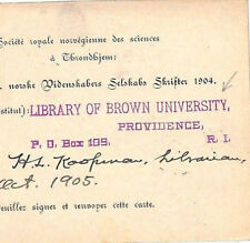 KK146 1905 USA Rhode Is Superb *LIBRARY OF BROWN UNIVERSITY* Cachet Card Norway