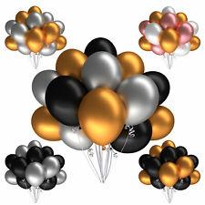 Luftballons Silber Gold Schwarz 50 Metallic Hochzeit Party Geburtstag Ø 28 cm