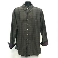 Resistol Ranch Shirt Mens Size XL Gray Brown Long Sleeve Button Front FLIP CUFF