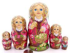 Nesting Russian Dolls Matryoshka Genuine 5 Babushka apples ZOLOTOVSKAYA signed