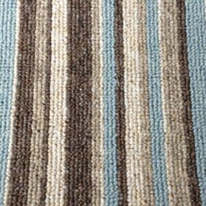 STAIR OR HALL CARPET RUNNER blue cream duck egg brown Beige crucial stripe