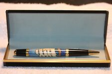 Handcrafted Tall Ship (Schooner) Inlay Pen in a Black Velour Case