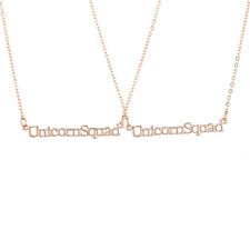 Lux Accessories Rose Gold Tone Unicorn Squad Best Friends BFF Necklace Set 2PC