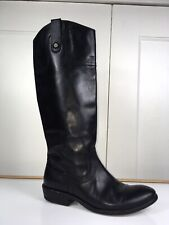 Frye Tall Riding Boots Leather Pull On Straps Mexico Low Heel Women Sz 6.5B GUC