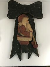 Vintage Wooden Cutout Santa Bow Wall Door Hanging for Christmas Winter Hearts