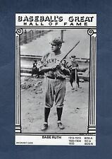 """BABE RUTH, Yankees ~ """"An Exhibit Card Baseball's Great Hall of Fame"""" stats back"""