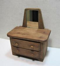 Vintage Handmade Wood Doll Dresser Jewelry Chest w/ Mirror