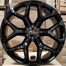 22 GMC Replica Wheels Gloss Black Snowflake Rims Yukon Sierra Chevy Tahoe LTZ