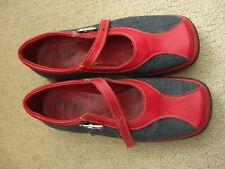 chaussures bimatière toile jean & vinyl rouge vintage 35 bride Milena originales