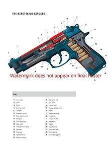 Beretta M9 Combat Pistol 9mm Poster Patent Print United States Army war wall art