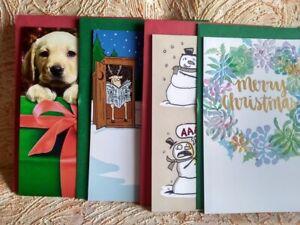*Lot Of 4 Christmas Cards Wreath Snowmen Reindeer Santa & Cute Dog RT $17.96