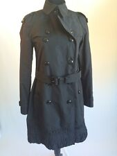 Burberry London Ruffle Double Breasted Rain Coat Jacket Black Size 6 Medium