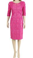 John Charles Pink Midi Wedding Mother of the Bride Lace Crochet Dress UK 10 38