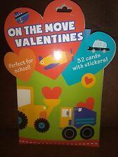 On the Move Valentines Day Cards Box of 32 Cards With Over 40 Stickers Set of 2