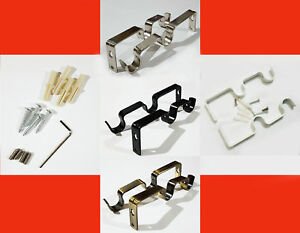 Metal Double Curtain Rod/Pole Wall Brackets & Fixings Rod Holder Various Colours