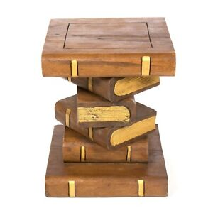 Rustic Solid Wooden Book Stack Side Table 40cm 16inch WAXED GOLD - FU-418-WG