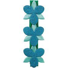 Goody Girls Trolls Poppy Flower Sparkle Headwrap Green with Blue Flowers