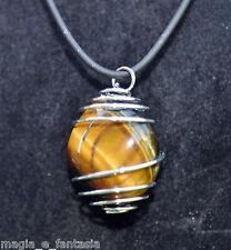 Collana con OCCHIO di TIGRE cristalloterapia zen pietre minerali chakra argento