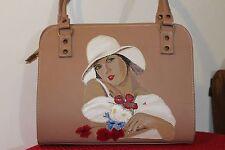 Borsa in vera pelle women bag leather  fatta a mano Arte ricamata dipinta  Italy
