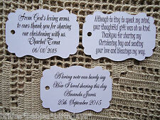10 Kraft White Gift Tags Christening Baptism Party Bomboniere Personalised  L7
