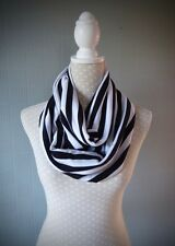 newcastle colours scarf, black and white striped scarf, stripe infinity scarf