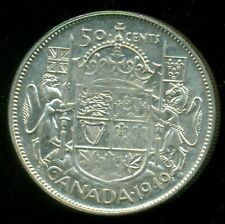 """1949 King George VI, Silver Fifty Cent Piece, Wide Date, Filled """"4""""  F42"""