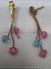 Striking 9Ct Yellow Gold Blue Pink Swarovski Crystal Elements Drop Earrings