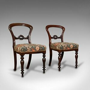 Pair Of, Antique Buckle Back Chairs, English, Walnut, Dining, Side, Victorian