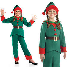 Childrens Elf Fancy Dress Costume Santas Helper Christmas Kids Outfit 4-12 Yrs