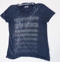 Tommy Hilfiger T-Shirt Damen Gr.M blau Motiv Rundhals -S1413