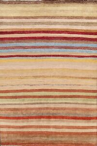 Striped Modern Gabbeh Oriental Area Rug Living Room Handmade Wool Carpet 6'x8'