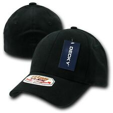 Black Solid Blank Plain Flex Curved Baseball Ball Fit Fitted Cap Caps Hat - L/XL