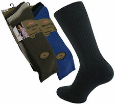 Mens Gents 100% Cotton Traditional Ribbed Socks Soft Top Black, Mixed Or White