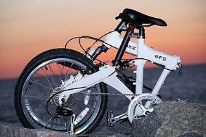 Downtube XFS White Full Suspension Folding Bike 10 speed