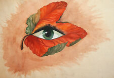 Vintage surrealist watercolor painting floral eye