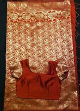 Preowned Banarasi Silk Saree With Stitched Matching Blouse Size 34.