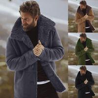 Warm Wool Lined Faux Lamb Outerwear Men's Winter Collared Jackets Coat Sheepskin