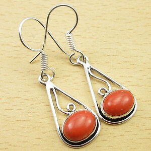 """925 Silver Plated Earrings 1.6"""" ORANGE COPPER TURQUOISE Gemset GIFT"""