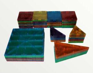 Lot Of 60 Magna-Tiles by Valtech Kids Magnetic Shapes Blocks Toys Squares STEM