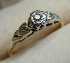 18ct Gold & 3x Diamonds Ring - Vintage Antique
