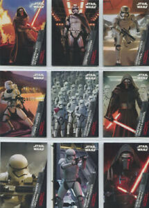 Star Wars the Force Awakens Series 1 First Order Rises 9 Card Chase Set