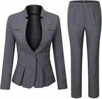 YUNCLOS Women's Pant Suit Heathered Gray Size XL Hardware Embellished $79- #263